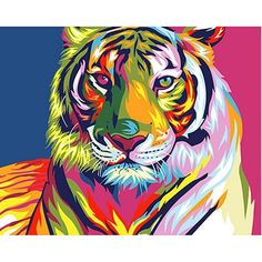 Adult Paint by Numbers Framed, Komking DIY Paint by Number Kits for Kids Beginner on Canvas Painting, Colorful Tiger Pet Tiger, Tiger Art, Tiger Head, Simple Oil Painting, Diy Painting, Painting Canvas, Canvas Frame, Diy Canvas, Wall Canvas