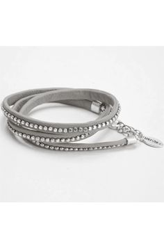 Hultquist Jewelry, Grey leather/silver bead wrap bracelet: Grey leather/silver bead wrap bracelet |Pinned from PinTo for iPad|