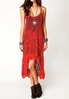 Boho Crochet Maxi Dress - Red