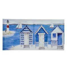 Nautical Beach Huts Canvas