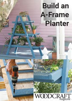 Ideal For Container Gardening In A Small Space, This Ladder And Platform Design Can Fold Up And Store Easily When Not In Use. This A-Frame Planter Offers Ample Space For Container Gardening In A Small 18 55 Footprint. Backyard Projects, Outdoor Projects, Garden Projects, Diy Projects, Outdoor Decor, Outdoor Living, Balkon Design, Pot Jardin, Outdoor Gardens