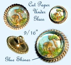 Very Rare Decoupage Under Glass 19th C. Waistcoat Jewel Button ~ R C Larner Buttons at eBay  http://stores.ebay.com/RC-LARNER-BUTTONS