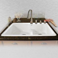 "33"" X 22"" X 75"" Cast Iron Equal Double Bowl Self Rimming Kitchen Pleasing Menards Kitchen Sinks Decorating Inspiration"