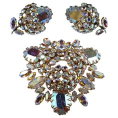 Sherman Rhinestone Berry Brooch  Earrings Set Costume Jewelry Sets, Vintage Costume Jewelry, Vintage Costumes, Antique Jewelry, Vintage Jewelry, Rhinestone Jewelry, Vintage Flowers, Vintage Brooches, Earring Set
