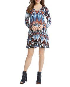 Karen Kane Ikat Print A-Line Dress