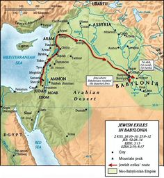 Jewish Exiles in Babylonia 2 Kgs/ Jer/ Ezek/ Ezra - Gerda Bible Timeline, History Timeline, Religion, Bible Mapping, Learn Hebrew, Old World Maps, Bible Knowledge, Scripture Study, Kids Church