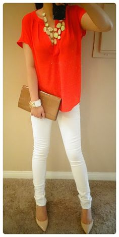 Banana Republic Red Silk Top with White Jeans