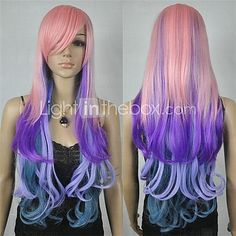 24inch Women's New Charming Mixe Color Long Curly Cosplay Wig Pink Purple and Blue - USD $25.99