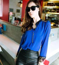 Korean Women's Loose Stand Collar Lace Chiffon Splicing Long Sleeve Shirt Blouse Tops