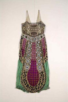 Evening dress - Date: ca. 1920 Culture: Silk, beads, metallic, The Metropolitan Museum of Art