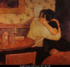 "Joseph Lorusso, ""Cafe Lovers"", 24"" x 26"", Oil"