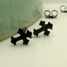 Mens Black Stud Earrings - Stainless Steel Earrings for Guys - Goth or Gothic Jewelry -The Black Cross (419B)