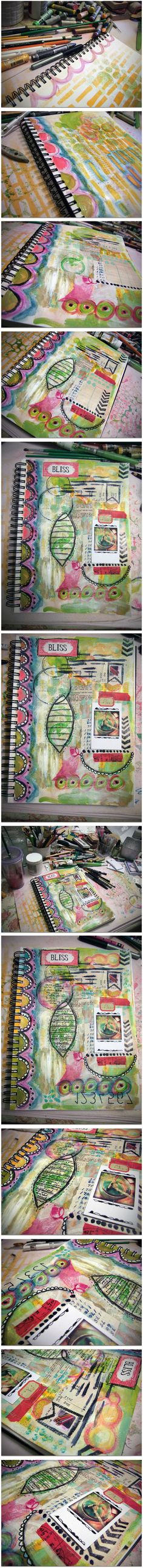 I took pictures as I worked so you can see the process. I used gesso, oil pastels, spray inks, stencils, acrylic paints, washi tape, masking tape, pencils and pens, scrap papers, rubber stamps, staples and a cute little Instagram photo.