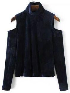 Blusa de terciopelo con hombros al aire y cuello alto - violeta -Spanish SheIn(Sheinside)