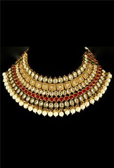 Antique heavy designer bridal necklace set - Desi Royale - 1
