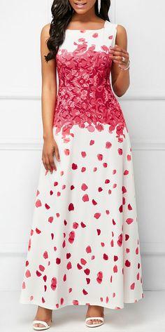 Printed Round Neck Sleeveless Maxi Dress