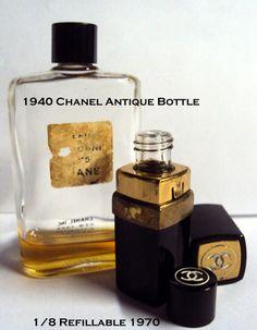 Vintage Bottles 2 pc. Lot 1940's Chanel No. 5 Cologne & Chanel 1/8 fl. oz. Purse Bottle Collectables Fragrance Refill. $28.00, via Etsy.
