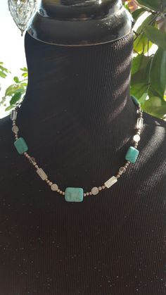 Turquoise, Moonstone and Quartz Necklace  $30 buy or trade