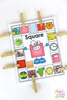 Kindergarten Math, Kindergarten, Shapes, Common Core Math, H Kindergarten Math Activities, Preschool Learning, Math Games, Kindergarten Shapes, Sorting Activities, Teaching Shapes, Teaching Math, Common Core Math, Math Centers