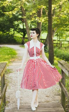 #stripes #red #shirtdress #vintageinspired #fitandflare