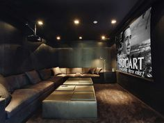 Suede man cave is perfect for weekend movie marathons. #mancaves #den #theater