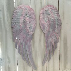 Angel Wings Wall Art large metal angel wings wall decor, distressed gold, ivory
