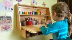 Kids Fold Down Wall Mounted Desk with Chalkboard / Space Saver / Organization / Homework desk