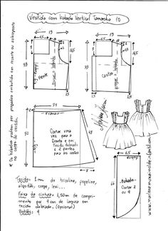 "Vestido manga copinho decote ""V"" nas costas - DIY- marlene mukai - molde infanti. Baby Girl Dress Patterns, Baby Clothes Patterns, Kids Patterns, Dress Sewing Patterns, Baby Girl Dresses, Clothing Patterns, Sewing Kids Clothes, Sewing For Kids, Baby Sewing"
