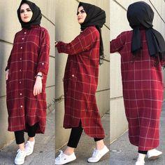 مدل مانتو چهارخونه جدید 2019 Tesettür Mayo Şort Modelleri 2020 - Tesettür Modelleri ve Modası 2019 ve 2020 Modern Hijab Fashion, Street Hijab Fashion, Hijab Fashion Inspiration, Islamic Fashion, Abaya Fashion, Muslim Fashion, Fashion Outfits, Hijab Style Dress, Casual Hijab Outfit