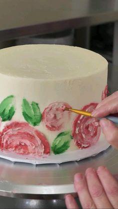 Cake Decorating Frosting, Cake Decorating Designs, Cake Decorating Techniques, Cake Decorating Tutorials, Cookie Decorating, Easy Cake Designs, Simple Cake Decorating, Buttercream Cake Designs, Dessert Decoration