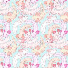 Axolotl fabric by hinotorisan on Spoonflower - custom fabric