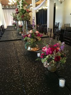 Black sequin linen and berry floral