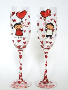 """Pahare pictate """"Love"""" (150 LEI la Liynda.breslo.ro)"""