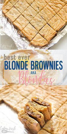 Brownie Recipe - Blonde Brownies, AKA Blondies are a simple, easy rich dessert recipe. Similar to the classic chocol -Blonde Brownie Recipe - Blonde Brownies, AKA Blondies are a simple, easy rich dessert recipe. Similar to the classic chocol - Desserts Keto, Potluck Desserts, Quick Dessert Recipes, Easy Desserts, Sweet Recipes, Delicious Desserts, Bar Recipes, Vanilla Desserts, Potluck Food