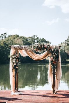 A blush colour theme for a gorgeous wedding with blush sheer chiffon draped wedding arch - Romantischer Hochzeitsbogen für eure freie Trauung am See. Wedding Goals, Wedding Themes, Wedding Planning, Wedding Arch Decorations, Lake Wedding Ideas, Wedding Cakes, Wedding Backdrops, Wedding Inspiration, Centerpiece Wedding