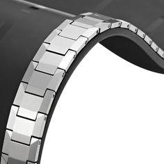 Sparkling R Solid Tungsten Titanium Men's Link Bracelet | RnBJewellery