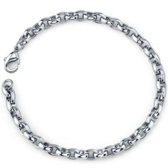 HAMANY Mens 3mm Stainless Steel Necklace Link Chain Simple Silver Tone with a Velvet Bag