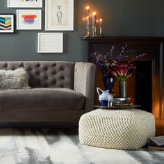 Living Room: Black Color Ideas Applied Inside Contemporary House Interior Equipped Near Black Desk Along With Grey Rug Design Ideas Plan from Fascinating Pouf and Floor Pillows in Various Designs
