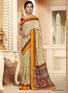 Amy Jackson Pashmina Silk Multi Colour Saree
