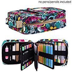OLIKE 78 Slots Pencils Holder Case Organizer For Colored Pencils Handy Zipper Pencil Bag For Prismacolor Watercolor Pencils Marco Pencils Crayola Colored Pencils