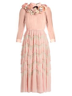 Floral-embellished silk-blend plumetis gown | Gucci | MATCHESFASHION.COM