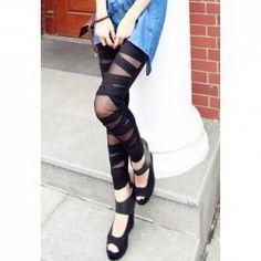 $5.45 Bandage Criss-Cross Voile Splicing Cotton Blend Color Matching Legging For Women