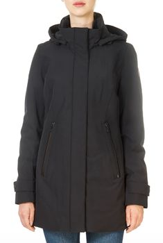 This is the 'Teresa' Long Black Coat by stunning brand Creenstone. This gorgeous piece features a large hood, a central double zipper fastening, and side zip pockets. This is the perfect piece to carry you into the colder season! Long Black Puffer Coat, Black Raincoat, Waterproof Coat, Blue Coats, Winter Coats Women, Shop Now, Clothes For Women, Shopping, Pockets