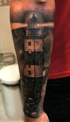 Lighthouse tattoos make some great ink, they're easily recognizable, universal symbol of hope and guidance and a pillar of maritime history! Large Tattoos, Great Tattoos, Black Tattoos, Body Art Tattoos, Tattoos For Guys, Sleeve Tattoos, Ship Tattoos, Arrow Tattoos, Tatoos