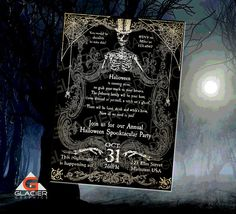 Spooky Halloween Skeleton Invitation by SouthPrairieHandmade