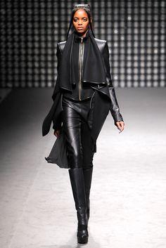 High neck drape with leather trim. Gareth Pugh Fall 2011