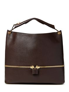 Oversized Zip Leather Shoulder Bag from Luxury Shoes