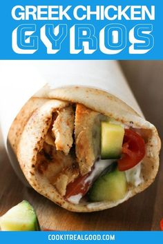 Quick, easy and healthy chicken gyros are perfect for weeknight dinner. Chicken is bursting with flavour from a simple yoghurt marinade. Click the picture for the full recipe and tips or pin for later! Oven Chicken Recipes, Chicken Thigh Recipes, Kebabs, Quick Easy Dinner, Quick Easy Meals, Chicken Dinner For Two, Curry, Tacos, Recipes With Few Ingredients