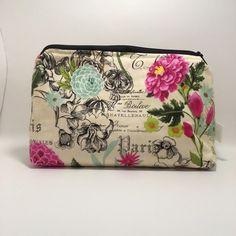 Paris Cosmetic Bag Handmade by myself at Mesmerics, find us on Etsy! Mesmerics Bags Cosmetic Bags & Cases