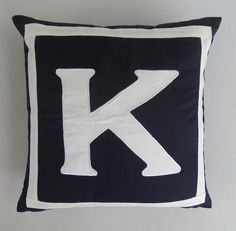 In stock a lovely Midnight blue throw pillow cushion cover made with the Letter K in bold letters .This throw pillow and cushion cover measure